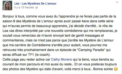 Message Facebook Camille Fernandes alias Lea LMDLA