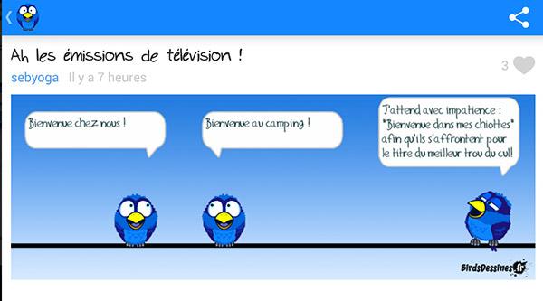 Humour en BD sur Bienvenue au camping de TF1 ;) / capture écran Bird Dessinés appli