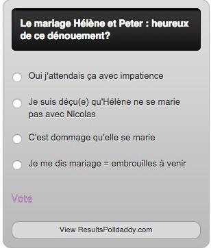 Sondage sur le mariage d'Hélène et Peter LMDLA