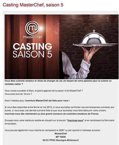 Casting Masterchef saison 5 de TF1 les inscriptions ouvertes/ Capture écran
