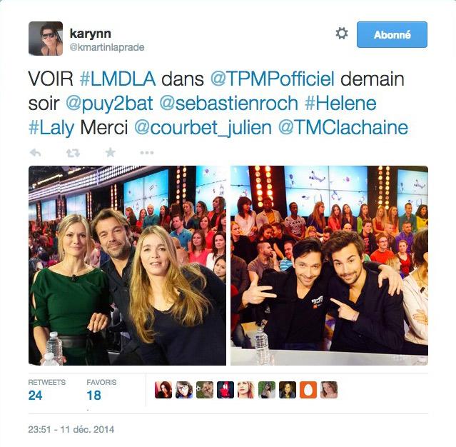 Noms des acteurs présents les mystères de l'amour pour TPMP D8 du 12 décembre 2014