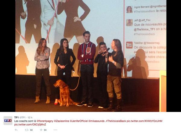 Les coachs The Voice 4 et le chien de Mika / Capture écran