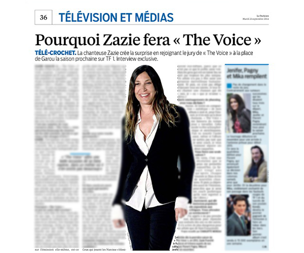 Confidences de Zazie The Voice dans le parisien
