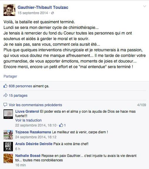 Hommage à Gautier Toulzac décédé d'un cancer / Capture écran facebook