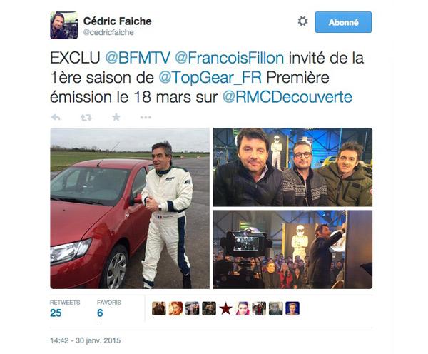 Date lancement Top gear France avec François Fillon sur RMC Découverte