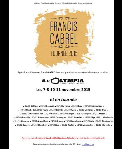 Liste des villes pour la tournée de Francis Cabrel 2015