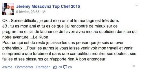 Message facebook de Jérémy de Top Chef 2015 sur M6