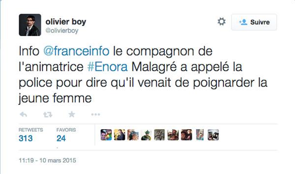 Fausse mort d'Enora malagré annoncée sur France Info
