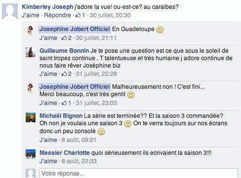 Annulation Sous le soleil de St Tropez TMC : la saison 3 de 2015 annulée / Capture écran facebook Joséphine Jobert (Roxanne)
