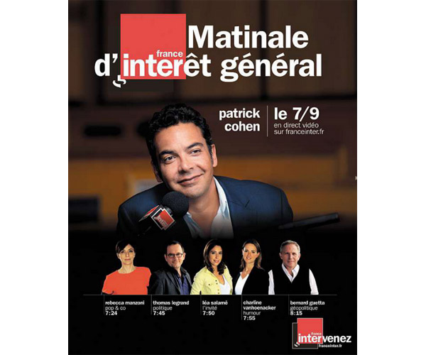 Avis sur les audiences de France Inter janvier-mars 2015 : Cohen, Nagui, Demorand