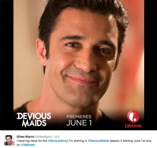 Sebastien dans Devious Maids saison 3 avec Carmen ? (Gilles Marini)