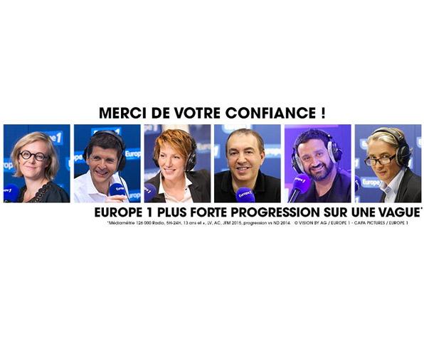 Audience Europe 1 au 1er trimestre 2015 : les chiffres