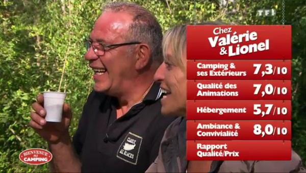 Les notes de Valérie et Lionel de Bienvenue au camping TF1