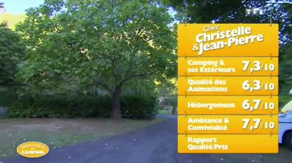 Les notes de Christelle et Jean Louis sur TF1 dans Bienvenue au camping