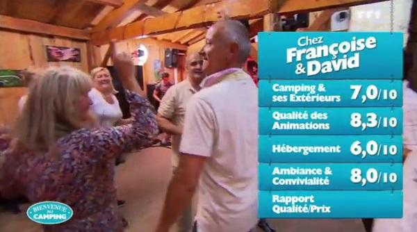Les notes de Françoise et David dans Bienvenue au camping de TF1