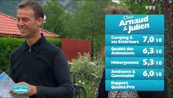 Les notes du camping de Julien et Arnaud de Bienvenue au camping sur TF1