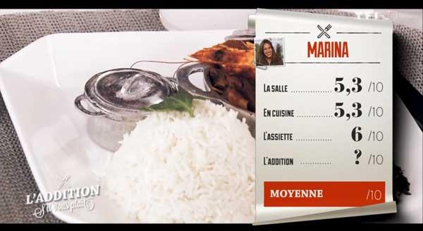 Les notes de Marina de l'addition s'il vous plait de TF1 à Toulon