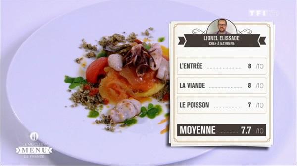 Les notes de Lionel Elissalde pour le poisson