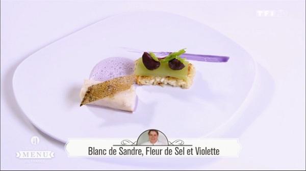 Recette de Céline Taffarello : Blanc de sandre, fleur de sel et violette