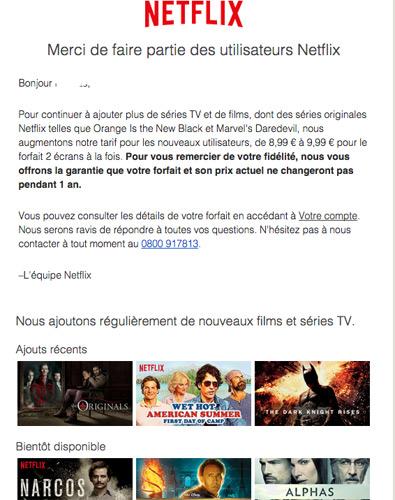 Augmentation Netflix France dès le mois d'aout 2015 : le mail d'information