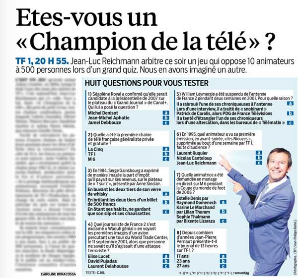 Des questions comme Le Champion de la télé de TF1 : Le parisien nous entraîne