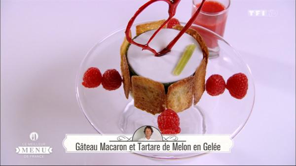 Recette de Denys Colin pour le dessert : Gâteau macaron et tartare de melon en gelée