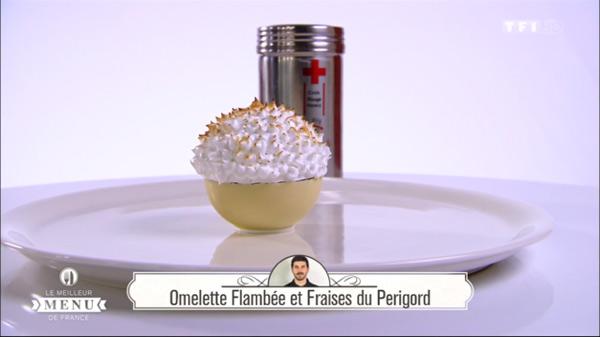 Recette de Fabrice Mignot  : Omelette flambée et fraises du périgord