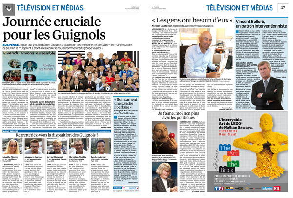Le parisien consacre 2 pages aux guignols de l'info : sauvés ou stoppés sur Canal +  ?
