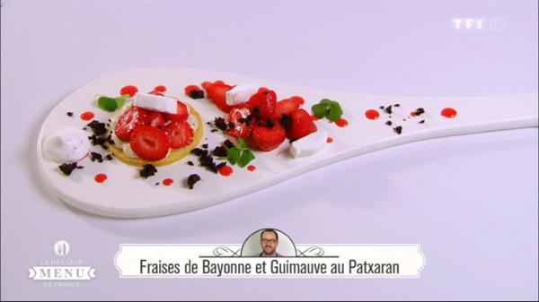 Recette du dessert de Lionel Elissalde : Fraises de Bayonne et Guimauve au Patxaran