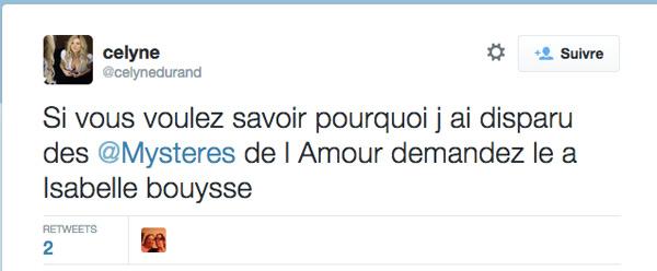 """Message twitter :"""" Si vous voulez savoir pourquoi j'ai disparu des mystères de l'amour, demandez à Isabelle Bouysse"""""""