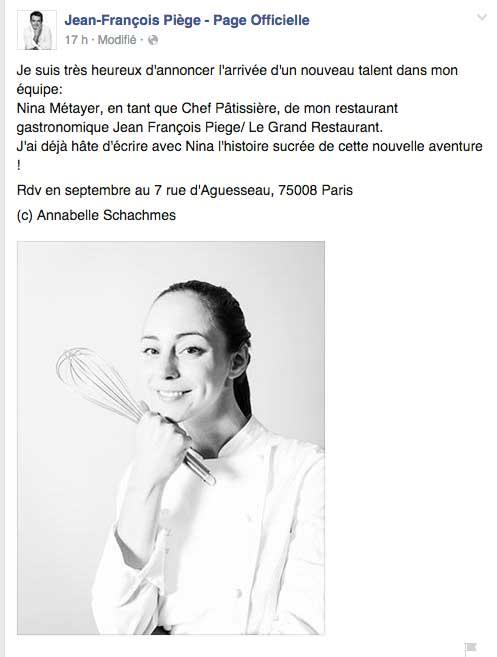 Nina du Grand Pâtissier va travailler avec Jean François Piège
