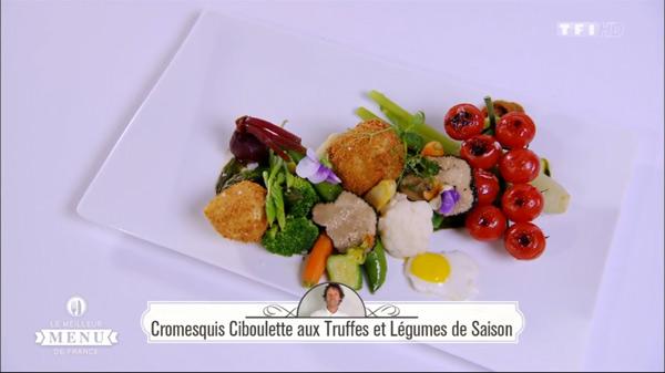 Recette de Denys : Cromesquis ciboulette aux truffes et légumes de saison