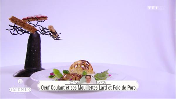 Recette de Céline : Oeuf coulant et ses mouillettes lard et foie de porc