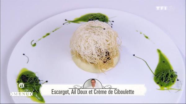 Recette d'Alexandre : Escargot, ail doux et crème de ciboulette