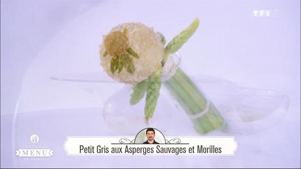 Recette de Fabrice : Petit gris aux asperges sauvages et morilles. F