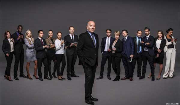Avis et commentaires sur The Apprentice version M6 avec Bruno Bonnell : photo avec les 14 candidats