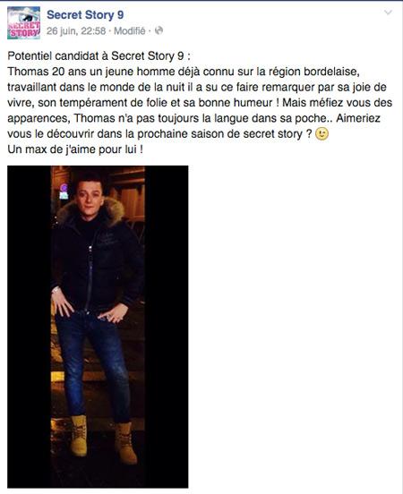 Thomas dans Secret Story 9