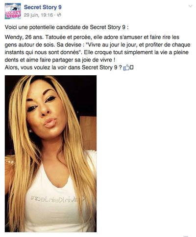 Wendy dans Secret Story 9