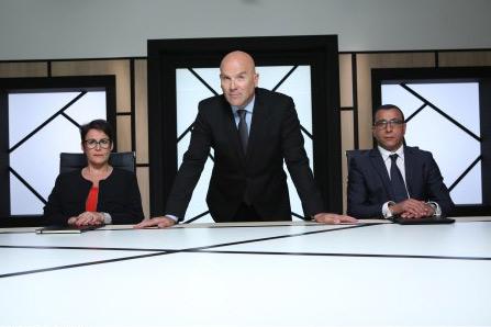 Bruno Bonell et ses conseillers dans The Apprentice sur M6  / Photo Pierre Olivier-m6