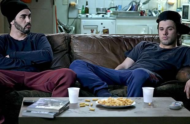 Orelsan et Gringe sur le canapé : c'est Bloqués de Canal +  à la rentrée 2015 / Photo Maxime Bruno