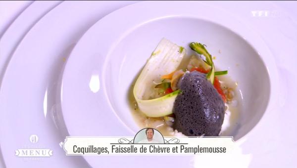 Recette Coquillages, Faisselle de chèvre et pamplemousse (Richard Baïma)