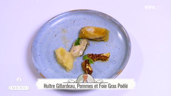 Recette Huître Gillardeau, Pommes et Foie gras poêlé (Murielle Coursez)