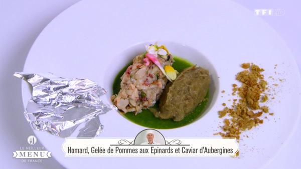 Recette Homard, Gelée de pommes aux épinards et caviar d'aubergines (Hervé Fourrière)