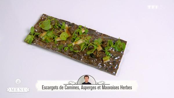 Recette Escargot de Comines, Asperges et mauvaises herbes (Maxime Schelstraete)