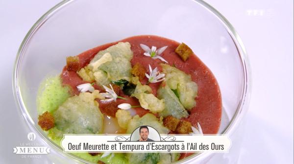 Recette Oeuf Meurette et Tempura d'escargots à l'ail des ours (Laurent Peugeot)