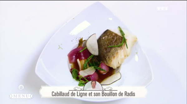 Recette poisson de Richard Baïma : Cabillaud de Ligne et son bouillon de radis