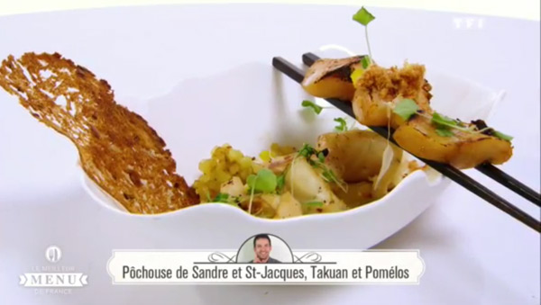 Recette poisson de Laurent Peugeot : Pôchouse de Sandre et St Jacques, Takuan et Pomélos