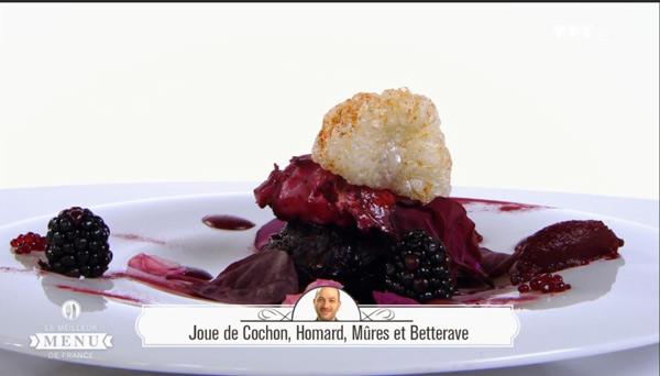 Recette Hervé Rodriguez (entrée) : Joue de cochon, homard, mûres et betteraves