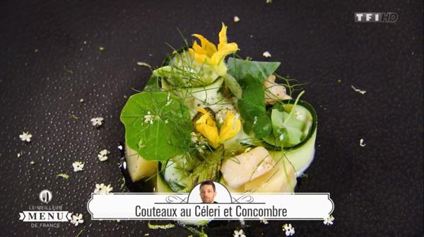 Recette Philippe Belissent (entrée) : Couteaux au céleri et concombre
