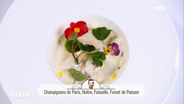 Recette Jacky Ribault (entrée) : Champignons de Paris, Huître, faiselle et fumet de poisson